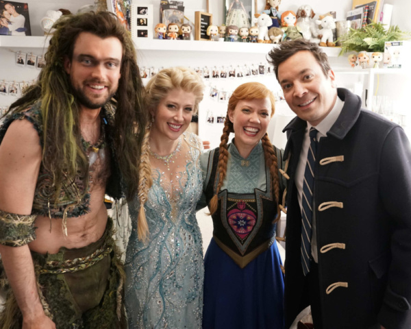 Jack Whitehall, Caissie Levy, Patti Murin, and Jimmy Fallon
